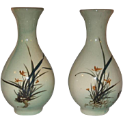 2 Asian Crackle Glazed Hand painted Flower Vases 1940's made in Taiwan