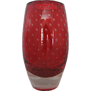 Rare Thomas Webb & Sons - Flair Ruby Red Art Glass Vase - c. 1950-1965 Marked