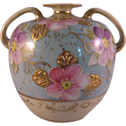 Vintage Hand painted Pink & Purple Flowers with Gold Gilt Vase - Porcelain Bulbous Amphora ...