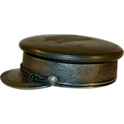 Old Military Cap Shaped Table Snuff Box Quadruple Plate Metal By Wm. Barthman NY