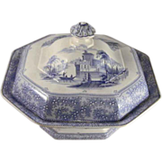 Antique Blue Staffordshire Transfer Ware Ironstone Covered Vegetable Dish Florence Pattern ...