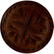 Antique Turned and Carved Wood Butter Print Stylized Flowers Design Beautiful Brown Coloration