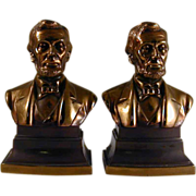 Heavy Bronzed Cast Metal Bookends Abraham Lincoln Bust Golden Color Marked PMC