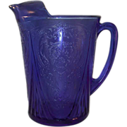 SOLD 1934-1941 Royal Lace Pattern Straight Sided & Ice Lip Cobalt Blue Pitcher Depression
