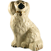 Vintage Staffordshire Dog Figurine Seated Spaniel with Gold Collar Marked Beswick England 1375