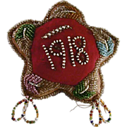1918 Native American, Iroquois or Mohawk Tribe, Stuffed Cloth Seed Beads Decorated Star Shaped