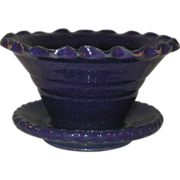 Rare 1938 Cobalt Blue Colored Glazed Redware Small Flower Pot By Isaac Stahl Powder Valley ...