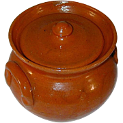 Old Jugtown Pottery Orange or Salmon Colored Glazed Redware Covered Jar North Carolina