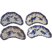 Blue on White Transfer Ware Four Bone Dishes Wedgwood & Co. Semi Royal Porcelain Floral ..