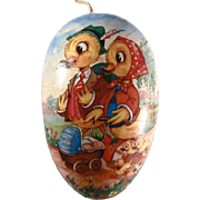 Vintage Large Paper Mache Candy Container Easter Egg with Colorful Ducks Design Made in Wester