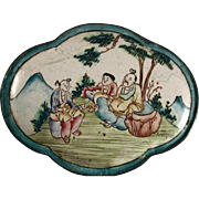 Chinese Canton Enamel on Copper Quad-Lobe Trinket Box Family Sitting Under Tree