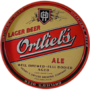 Vintage Round Beer Tray Colorful Design Ortlieb's Lager Beer Ale Philadelphia PA