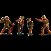Lot Four Vintage World War 1 Metal Soldier Action Figures Wearing Brown Uniform, Orange Boots
