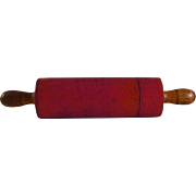 Antique Red Colored Turned Wood Rolling Pin Canister or Pencil Boxes With Removable Lid