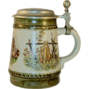 German Stein Pewter Lid Hunting Theme Rifles Dead Game Deer, Fowl, and Rabbits