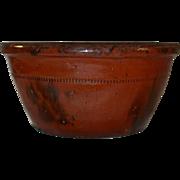 Antique Redware Manganese Glazed Deep Dish or Bowl Southeastern Pennsylvania