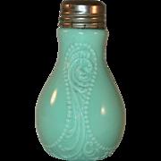 Old Opaque Blue Mold Blown Glass Rare Bulb Shaped Salt Shaker Raised Decoration