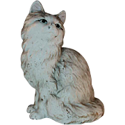 Old Cast Iron Doorstop Sitting Gray and White Persian Cat By Hubley