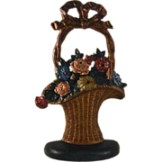 Vintage Cast Iron Doorstop Colorful Flowers Hubley's French Basket Design