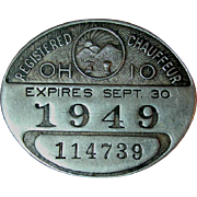 1949 Ohio Registered Chauffeur License Metal Pinback Tag Or Driver's Badge
