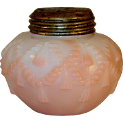 Late 19th Century Salt Shaker Blown Glass Opaque Pink to White Cord and Tassel Pattern ...