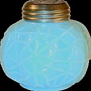 Late 19th Century Salt Shaker Opaque Blue Mold Blown Glass Spider Web Pattern Dithridge & ...