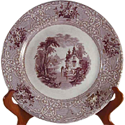 Mulberry Roselle Ironstone Plate Transfer Ware J. Meir Son Staffordshire England