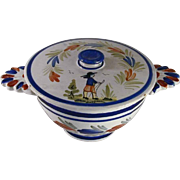 HB QUIMPER France Hand Painted 2 Handled Bowl w/ Lid Floral & Country Man Design