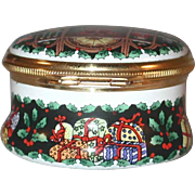 Halcyon Days Enamels Round Enameled Box Christmas 1991 Gift Made in England