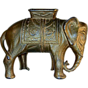 Cast Iron Golden Large Elephant Still Penny Bank  with Howdah by A. C. Williams