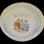 Baby Nursery Rhyme Alphabet or ABC Deep China Dish Jack and Jill German Transfer Ware