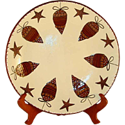 2008 Redware Large Charger Glazed and Slip Decorated Christmas Stars and Pine Cones Eldreth ..