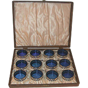 Set of 12 Sterling Silver Open Salts with Cobalt Blue Glass Liners Sterling Silver Salt ...