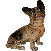 Old Cast Iron Doorstop Full Figure French Bulldog By Hubley or National Foundry