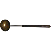 Vintage Wrought Iron Miniature Butcher Tasting Ladle with Brass Bowl and Copper Rivets ...