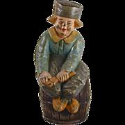 Vintage Large Painted Dutch Boy on Barrel Cast Iron Still Penny Bank By Hubley