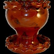 1987 Manganese Glazed Redware Flowerpot and Saucer by Lester Breininger