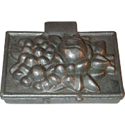 Vintage Pewter Ice Cream Mold Rectangular Shape with Flowers and Berries Marked 583