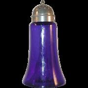 SOLD Vintage Cobalt Blue Molded Glass Muffineer Sugar Shaker Chromed Metal Screw-on Lid