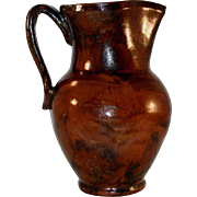 Antique Manganese Glazed Redware Pitcher Bulbous Shape with Tall Wide Neck Applied Handle and