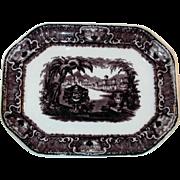 "Antique Dark Purple Staffordshire Transfer Ware  Ironstone 14"" Large Platter Washington V"