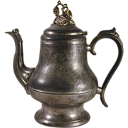 Antique Morey & Ober of Boston Pewter Teapot or Coffee Pot with Domed Lid and Vine ...