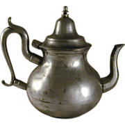 Antique Pewter Pear-Shaped Teapot Marked Bristol with Hinged Domed Lid