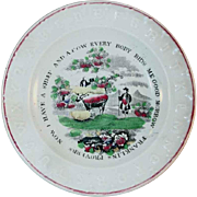 1860 Franklin's Proverbs Plate J&G Meakin Polychrome Painted Transfer Earthenware Alphabet or