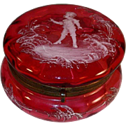 Antique Mary Gregory Cranberry Blown Glass Powder Box Child and Plants Decoration Brass Hinged