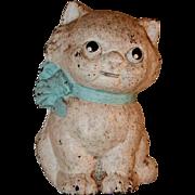 Hubley 820 Cast Iron Still Penny Bank Kitty Cat Blue Bow Collar Original Paint