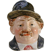 Antique Figural Pottery Humidor or Tobacco Jar - A Man with Feathered Hat and Cigar