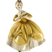 "Vintage English Royal Doulton Figurine Woman in Yellow Dress ""The Last Waltz"" Bone C"