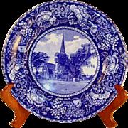 "Vintage Dark Blue Transfer Ware 9 7/8"" Plate The Elm at Cambridge R&amp ..."