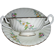 SALE MINTON CHINA BROMLEY , Six cream soup bowls or bullion bowls with under plates S340